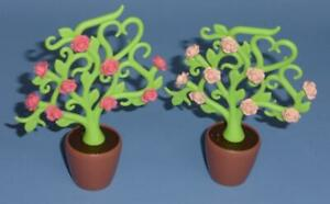 Playmobil Two Pink Rose Bush Plants in pots -  garden palace castle house NEW