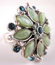 £30 Art Deco Silver Green Blue Flower Adjustable Ring Swarovski Elements Crystal