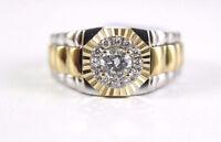 1.15 Ct Men's DVVS1 Diamond 14K Two-Tone Gold Engagement Wedding Rolex Band Ring