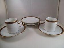 Vintage Thomas Germany Brown Gold Rim Set of 2 Demitasse Cups & 5 Saucers