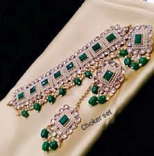 Traditional Bollywood Style Gold Plated Bridal Kundan Green Necklace Jewelry