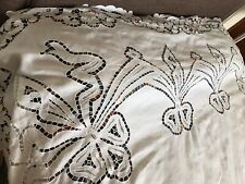 """More details for antique hand embroidered cutwork lace monogrammed wv large linen sheet 140x96"""""""