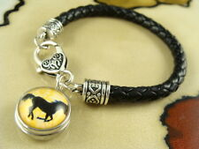 HORSE LOVER snap button on Black leather jewelry gift bracelet