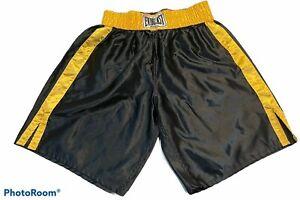 VTG EVERLAST Boxing Trunks Black Yellow Polyester Satin Shorts XL Classic Label