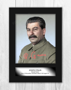 Joseph Stalin 2 A4 reproduction signed photograph poster with choice of frame