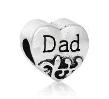Papá PADRE amor corazón familia Encanto Para Pulseras Y Collar Chapado En Plata