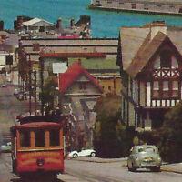 Vintage 1960s Cable Car Hyde Street San Francisco Postcard Alcatraz Bay Car Ship
