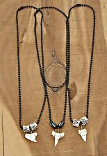 "Lot of 3 Shark Tooth 17"" (43cm) Necklaces White Sharks Teeth Black Ball Chain"