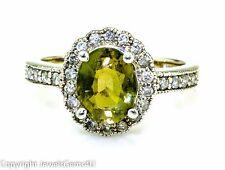 Natural Oval Peridot Halo Diamond 14K White Gold Ring Sz. 7.25