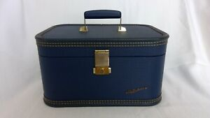 Vtg. Lady Baltimore Luggage Co Train Case Mirror & Tray Blue Mid Century 1950's