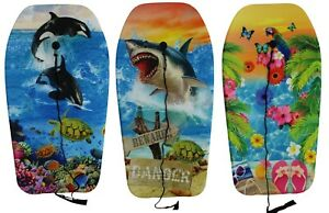 84cm Boogie Board Bodyboard Surf Board Float Kids / Adults & Leash Plug