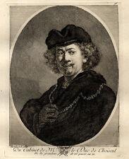 Buste Rembrant Van Rijn - Gravure du XVIIIème siècle