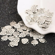 50Pcs Silver/Gold Plated MADE WITH LOVE Heart Beads Charms Pendant Accessories F