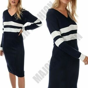 Ladies Womens Striped Navy V-Neck Jumper Dress Casual Soft Long Sleeve Top 12