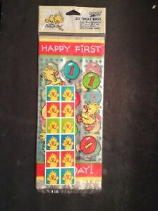 Suzy's Zoo  Happy FIRST Birthday 20 Treat Bags Suzy Duck Balloon Stickers 20 ct