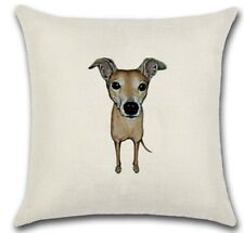 WHIPPET Cartoon GREYHOUND DOG LINEN-COTTON CUSHION COVER, UK Sale