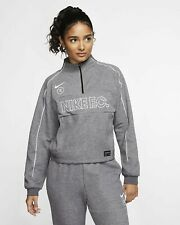 Woman's Nike F.C Football Pullover Sz S Black/Heather/White CD1215 010
