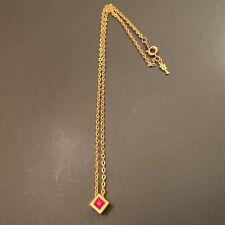 Vintage Crown Trifari Gold Tone Garnet Cube Necklace