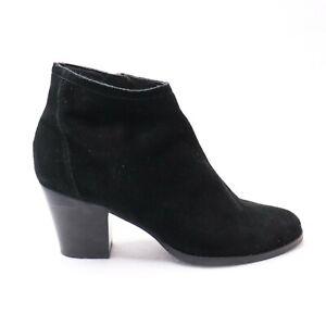 Wittner Black Suede Leather Ankle Boot Block Heel 'Kylar' Womens Size 41 9.5