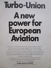 11/1970 PUB TURBO-UNION MTU FIAT ROLLS-ROYCE RB199 ENGINE TORNADO ORIGINAL AD