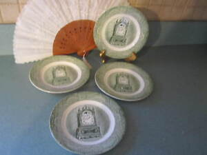 4 Royal China The Old Curiosity Shop Bread And Butter Plates Used Green Antique