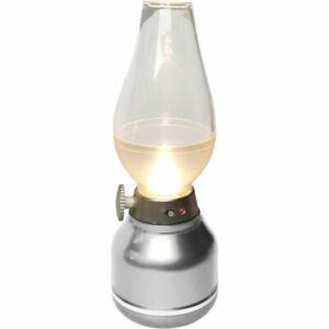 LightMe LED Akku-Tischleuchte Silber warmweiß 2700K kabellos dimmbar -> UVP 19€