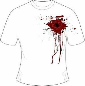 New Halloween White Gunshot Wound Printed T-Shirt Horror Fancy Dress
