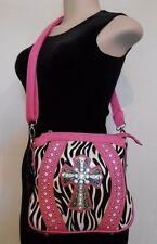 ZEBRA PRINT Cross Body Purse STUDDED CROSS Shoulder Bag in THREE Colors - BLING