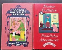 Doctor Dolittle's Book Lot 2 Puddleby Adventure Returns Hugh Lofting Vintage HC