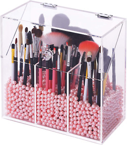 FOOCORDDY Covered Makeup Brush Holder with Dustproof Lid, 750G Pearls Beads, Lar