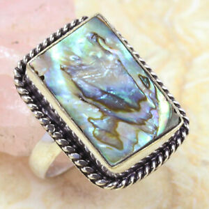 Abalone Shell 925 Silver Plated Ring of US Size 7.5 ST-62473