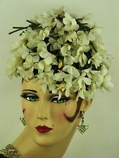 VINTAGE HAT 1950s I MAGNIN & CO. TRAILING WHITE LILY OF THE VALLEY PIXIE PILLBOX