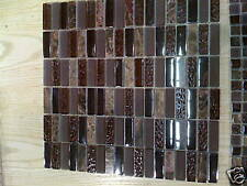 BROWN MARBLE GLASS MOSAIC POLISHED STACK TILE AG9035#