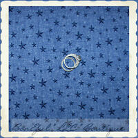 BonEful Fabric FQ Cotton Quilt Blue STAR American Flag USA French Country Cowboy