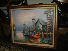 Superb Nautical Painting-Oil On Canvas Boat Docking Painting-Signed-Thick Paint