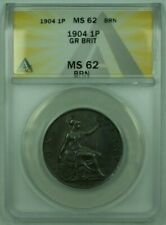 1904 Great Britian 1 Penny Copper ANACS MS-62 BRN BN Brown