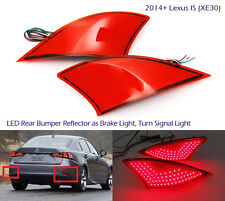 2x Red Lens LED for 2014+ Lexus Bumper Reflector Signal Brake Light IS250 IS350