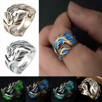 Glow In The Dark Luminous Band Ring Vintage Dragon Punk Stainless Steel Jewelry