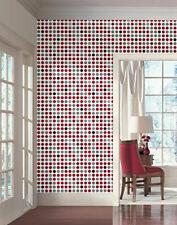 Fusion Dots Contremporary Retro Wallpaper in Silver, Red, Black, Gray