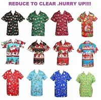 MENS CHRISTMAS SANTA XMAS HAWAIIAN SHIRT HAWAII GIFT HIM PARTY HOLIDAY S -XXL D9