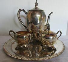 Vintage 1889 FB Rogers Silverplate 4 Piece Tea Coffee Serving Set Pattern #1083