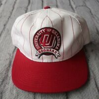 Vintage 90s Oklahoma Sooners Pinstripe Snapback Hat by Starter Cap Two Tone