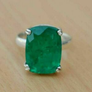100 % 925 Sterling Silver Colombian Emerald Cushion Shape Prong Ring Sale