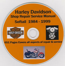 HARLEY DAVIDSON Shop Repair Manual 1984-1999 Softail on Disc ! 651 pages !!
