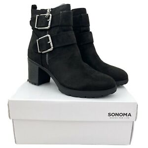Sonoma Rottweiler Block Heel Ankle Boots Booties Buckle Faux Suede Fall Black 10