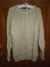 Vintage American Eagle Handknit 100% Wool Sweater Ivory Size Large