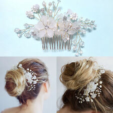 Wedding Accessory Bridal Handmade Flower Hair Piece White Pearl Bead Hair Comb