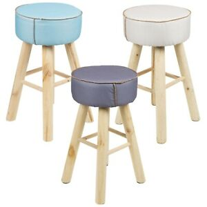 Round Tall Upholstered Cushioned Top Seating Scandinavian Wooden Leg Stool Chair