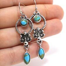 Vintage Antique Turquoise Hook Earrings Women Wedding Jewelry Tibetan Silver