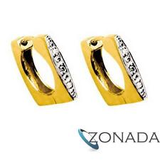 Square Hoop Diamond 9ct 9k Solid Yellow Gold Earrings 53897